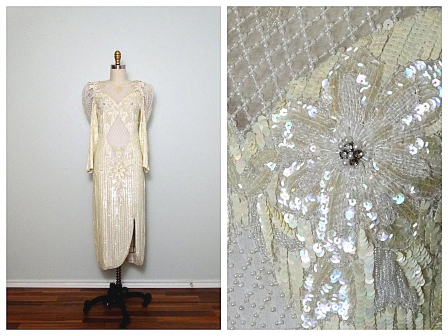 Wedding - VTG Pearl Beaded Cream Sequin Dress / Iridescent Ivory Sequined Dress Small