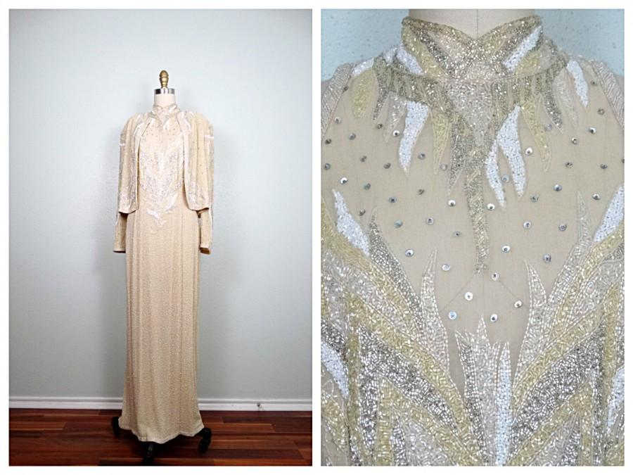 Wedding - Cream & White Beaded Gown by Judith Ann Creations // Champagne Ivory Beaded Silk Dress w/ Jacket Large