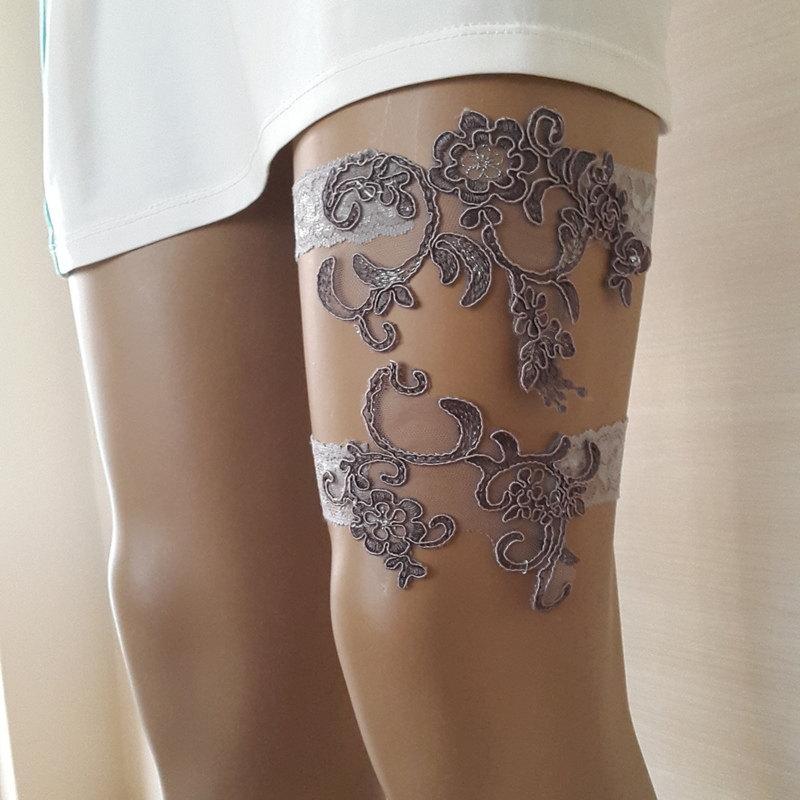 Свадьба - garter, toss garters, gray,   lace,    wedding garters,    bridal accessores,   garter suspander,    free shipping!