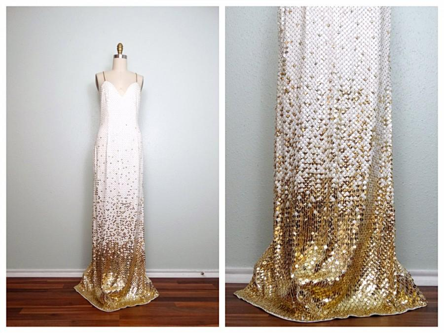 Wedding - VTG Glam White & Gold Sequined Gown // Open Back White Sequin Gold Beaded Fully Embellished Dress US 2 / 4