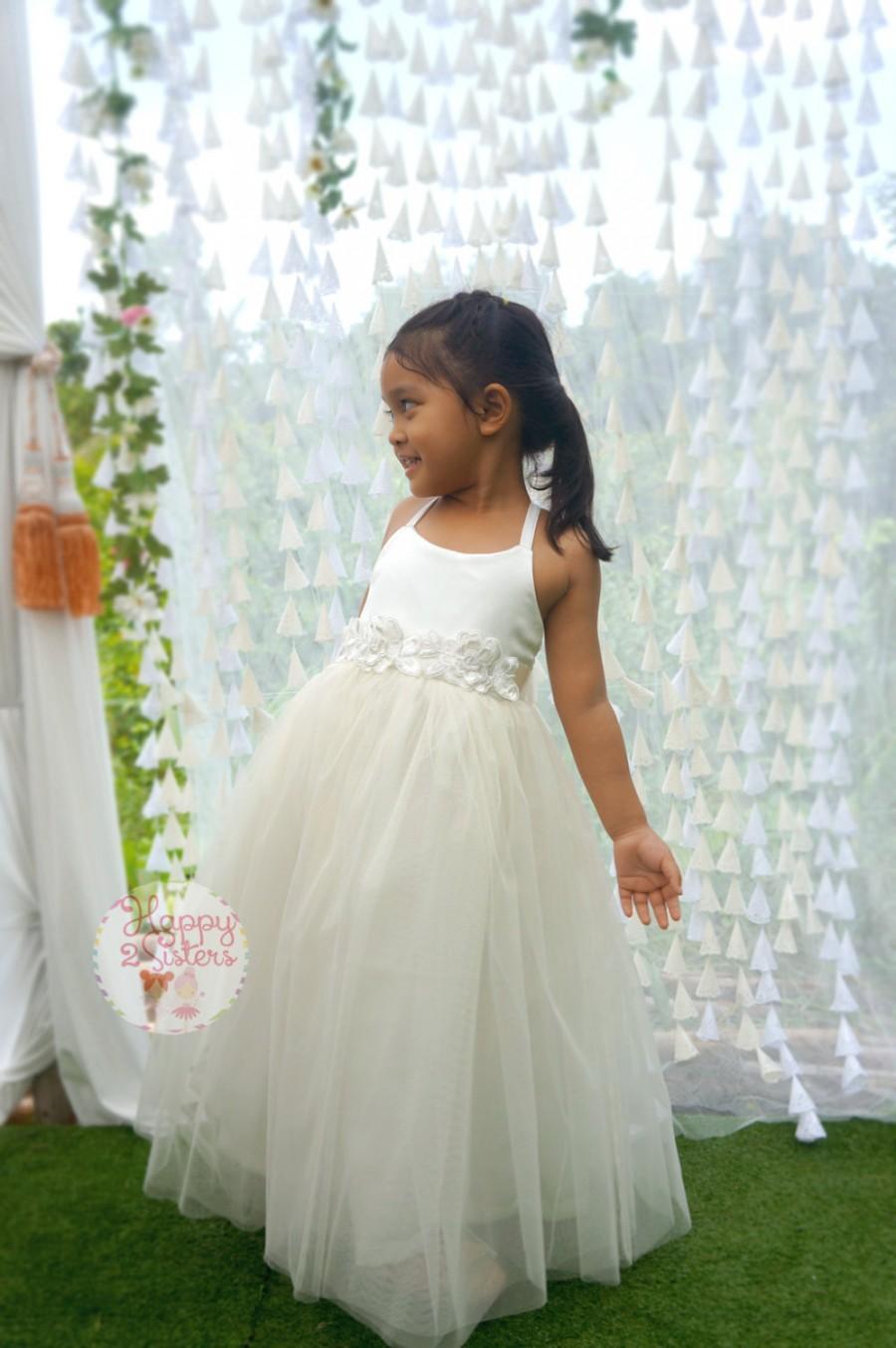 Свадьба - Ivory flower girl dress, Girl dress, Rustic flower girl dress, Toddler Girl dress, Girls Full length dress