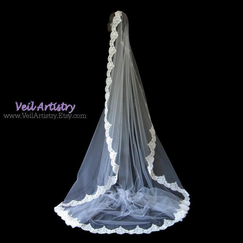 Свадьба - Bridal Veil, Chapel Veil, Mantilla Bridal Veil, Mantilla, Alencon Lace Veil, Made-to-Order Veil, Custom Veil