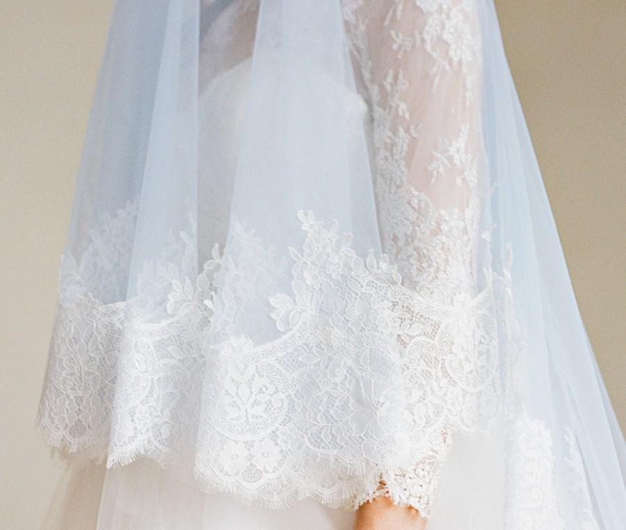 Mariage - Light Blue Bridal Veil, Light Blue Drop Veil, Chantilly Lace Cathedral Veil, Mantilla Veil, Lace Veil, Serenity Blue Cathedral Veil EVERMORE