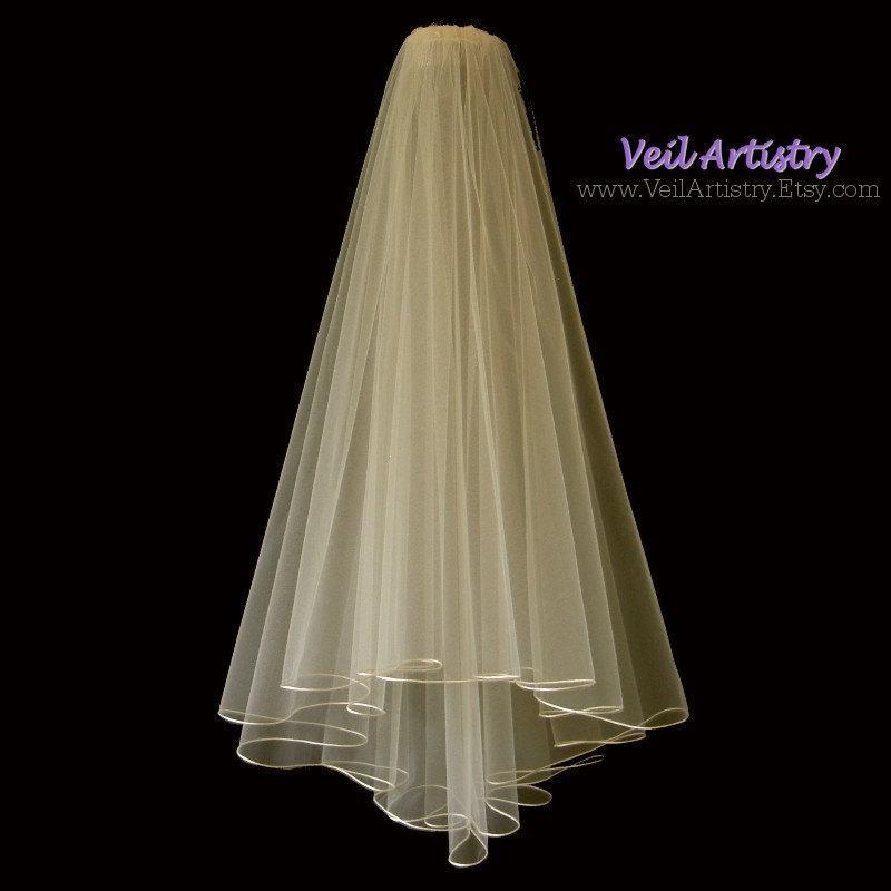 Mariage - Bridal Veil, Radiance Veil, 2 Tier Bridal Veil, Satin Cord Edge Veil, Fingertip Veil, Made-to-Order Veil, Handmade Veil