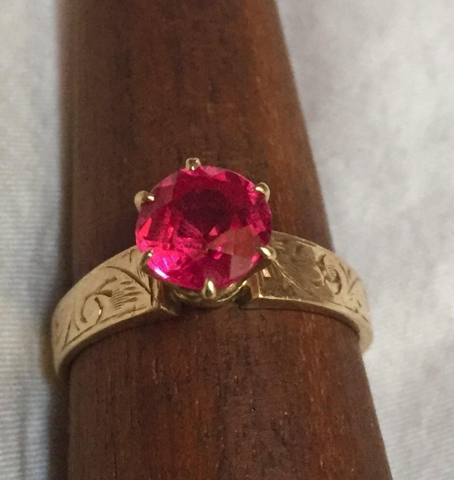 زفاف - Eco Engagement Ring Ruby Solitaire Antique Art Deco 14k Yellow Gold Hand Etched Ring 1.3 Carat Synthetic? Hot Pink Ruby or Saphire