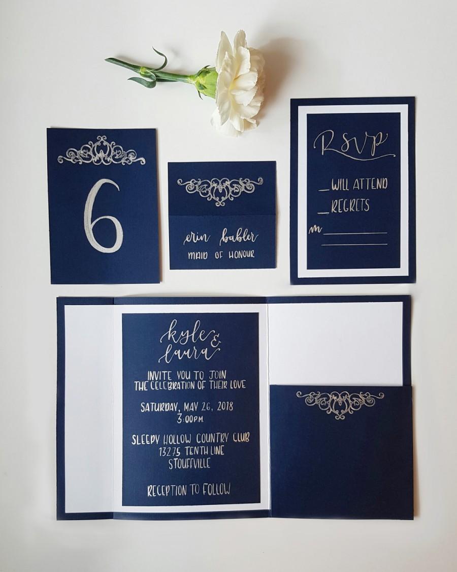 modern navy and silver pocket wedding invitations rsvps envelopes