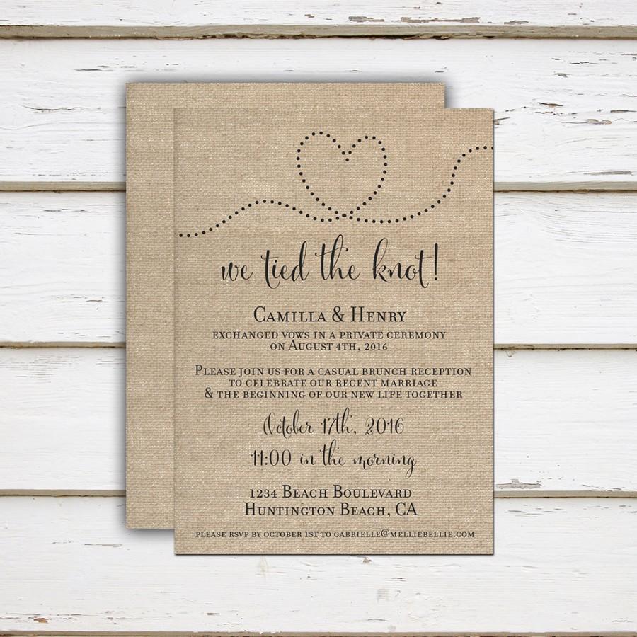 camilla printable printed elopement reception invitation