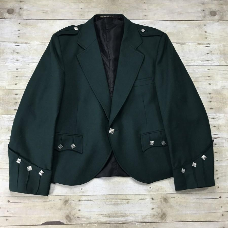 Wedding - Vintage Irish County Green Prince Charlie Traditional Kilt Formal Wedding Jacket Made in Scotland Mens Size 38R ( Small )