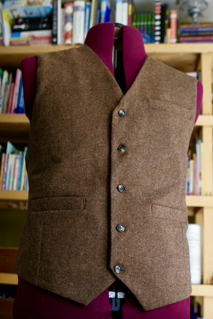 Düğün - Non Pleated  Back Adult brown tweed wool Vest Made to your measurements Groom / groomsmen