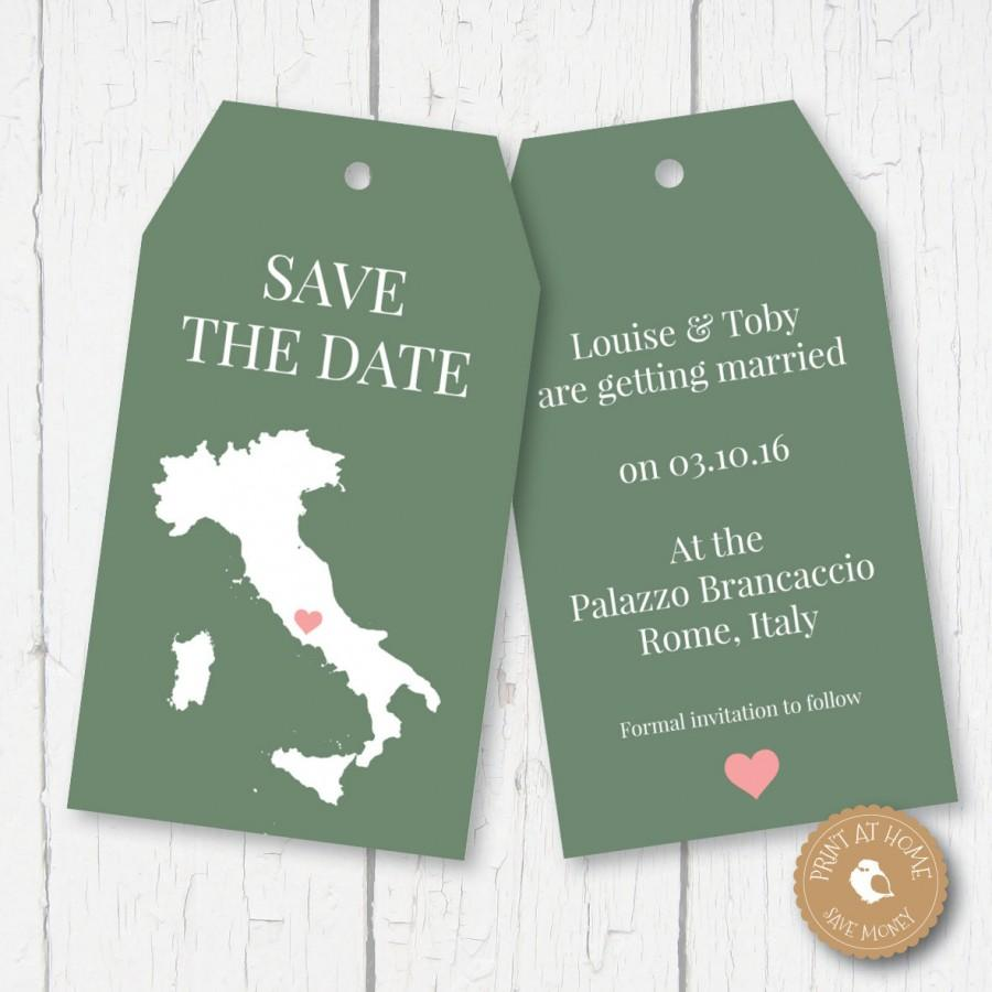 Italy Map Wedding Luggage Tags Save The Date Any Country - Luggage tag save the date template