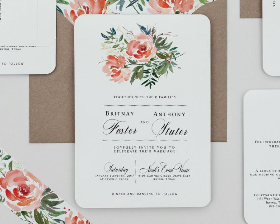 Red Rose Floral Wedding Invitation Template,Rustic Floral Wedding ...