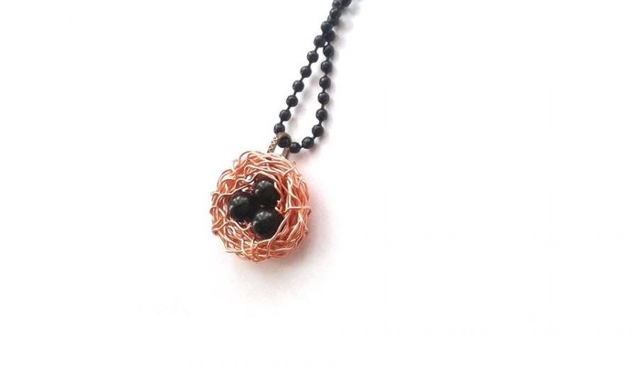 Wire Wrapped Copper Green Goldstone Bird Nest Necklace, Unique Wire ...