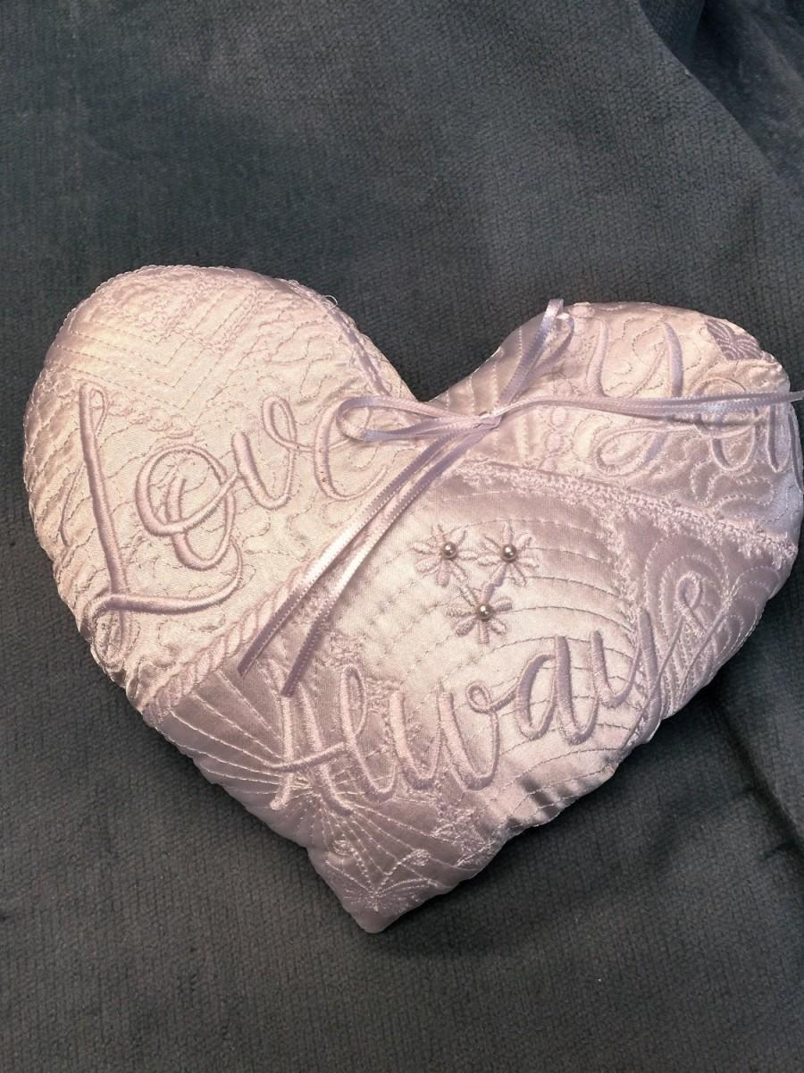 Hochzeit - Small Satin Embroidered Wedding Ring Pillow