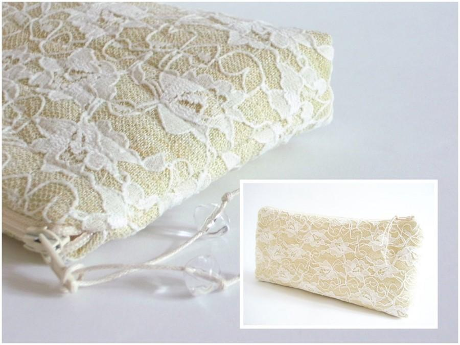 Mariage - Summer Wedding Clutch, Pastel Yellow Lace Clutch, Bridal Purse, Elegant Bridesmaid Bag, Special Occasion Bag