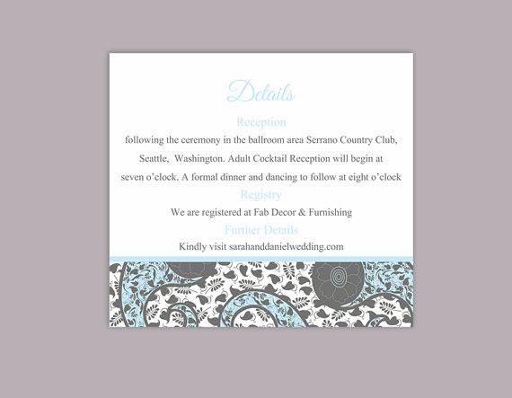 زفاف - DIY Bollywood Wedding Details Card Template Editable Word File Instant Download Printable Blue Details Card Elegant Paisley Enclosure Card