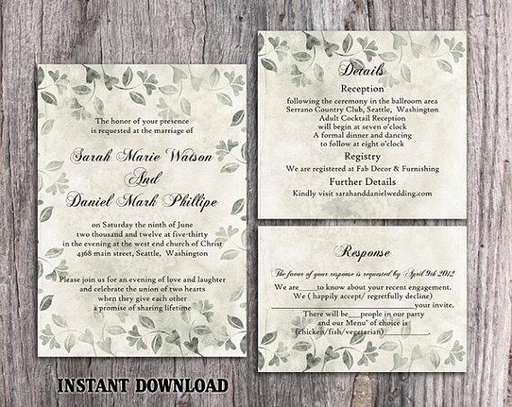 DIY Rustic Wedding Invitation Template Set Editable Word File ...