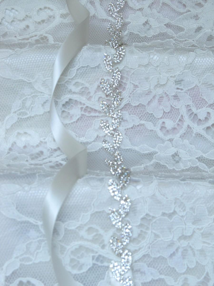 Hochzeit - Silver Leaves Crystal Rhinestone Bridal Sash,Wedding sash,Bridal Accessories,Bridal Belt,Style # 6