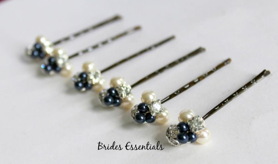 Mariage - 6 Navy Blue Hair Pins, Pearl Hair Clip, Bridal Hair Piece, Bridesmaid Hair Clip, Pearl Cluster Pin, Swarovski Ivory Pearls Rhinestone Pin