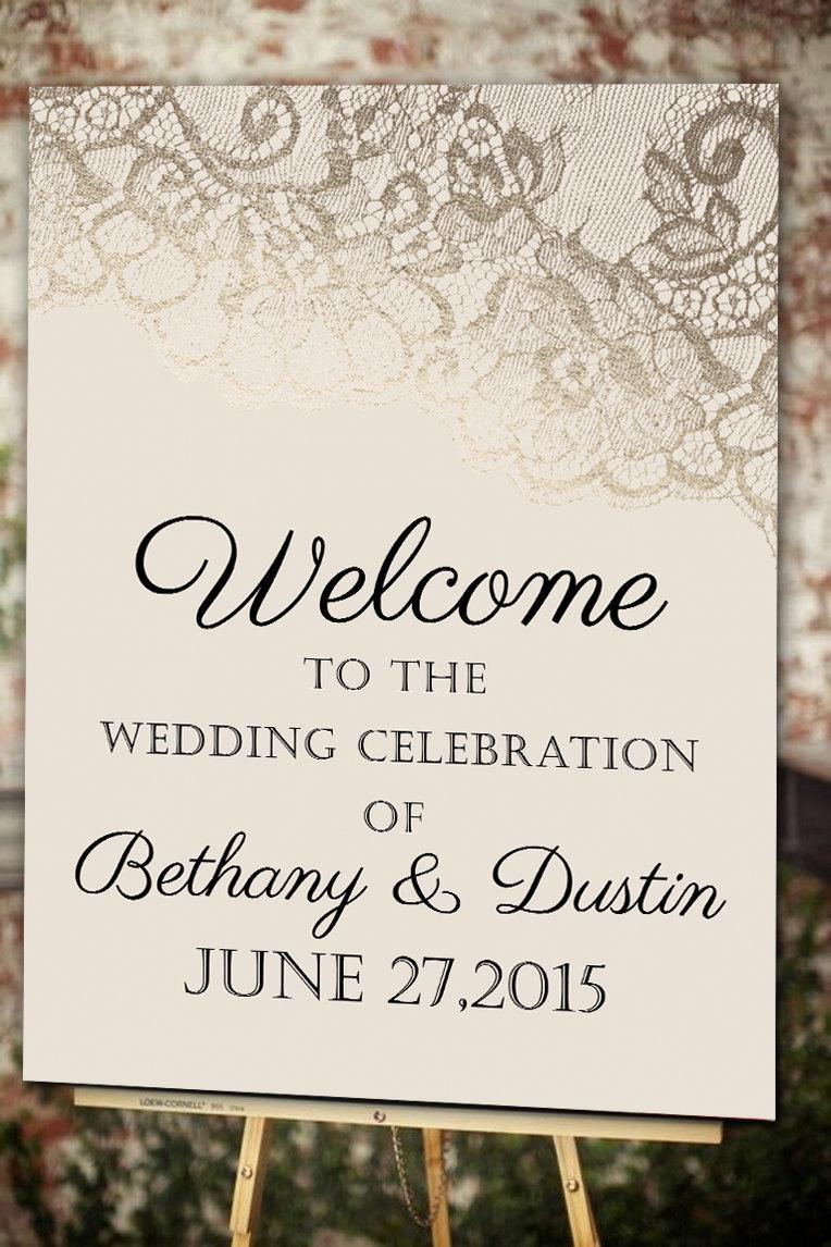 Свадьба - Blush & Gold Lace Welcome Wedding Poster - 11x17 - 18x24 - 24x36 - DIY Digital File