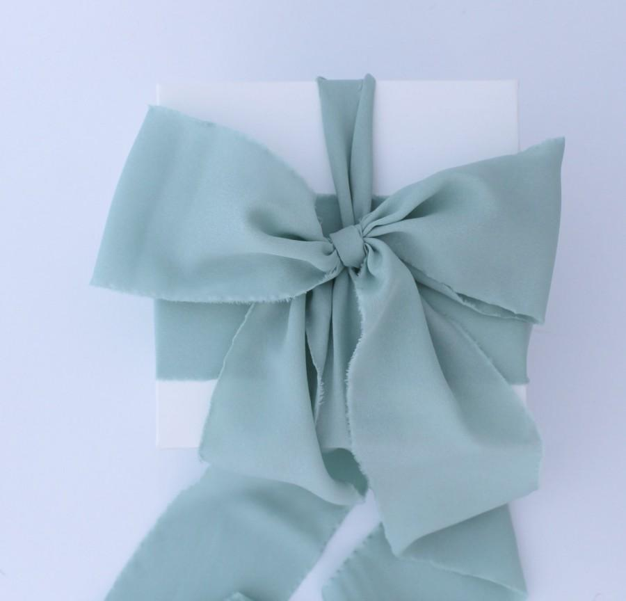 """Свадьба - Seafoam Green Ribbon. 3"""" Wide Luxury Ribbon. Hand Torn and Frayed Crepe De Chine Ribbon. Sage. 3 Meters. Wedding Bouquet Ribbons. Gift Wrap"""