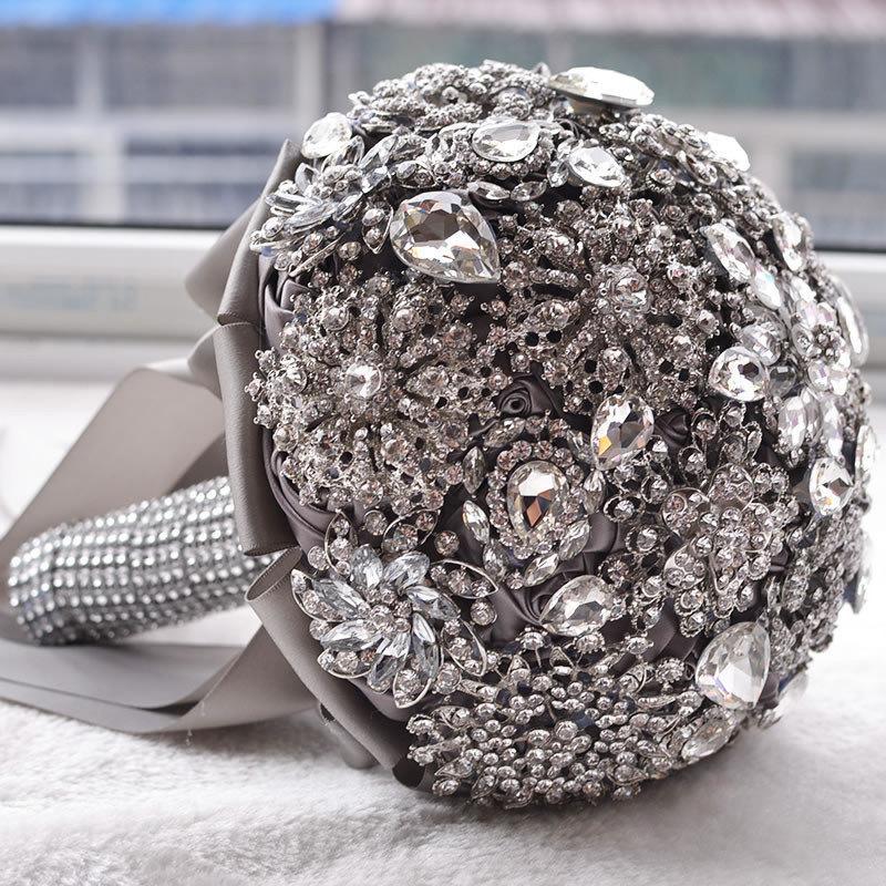 Wedding - Gray Brooch Wedding Bouquet, Bride Wedding Bouquet, Crystal wedding bouquet FREE SHIPPING