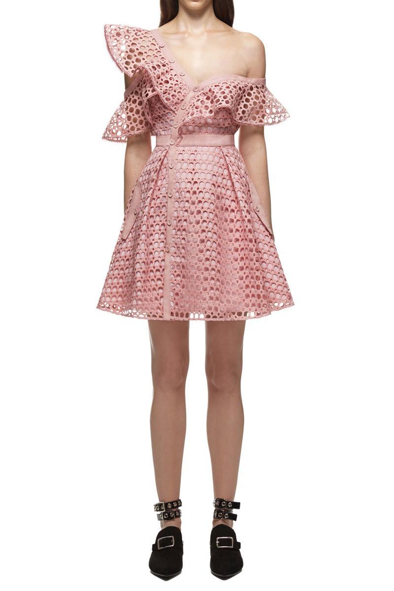 Свадьба - Self Portrait Lace Frill Mini Dress
