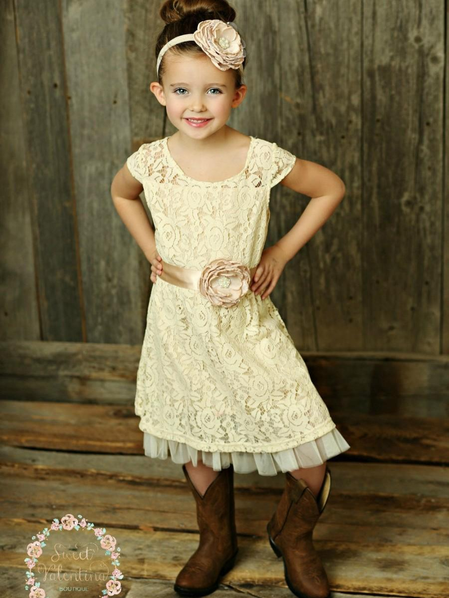 Mariage - Cream flower girl dress, lace baby dress, rustic flower girl dress, country flower girl dress, lace girls dresses, flower girl dress.