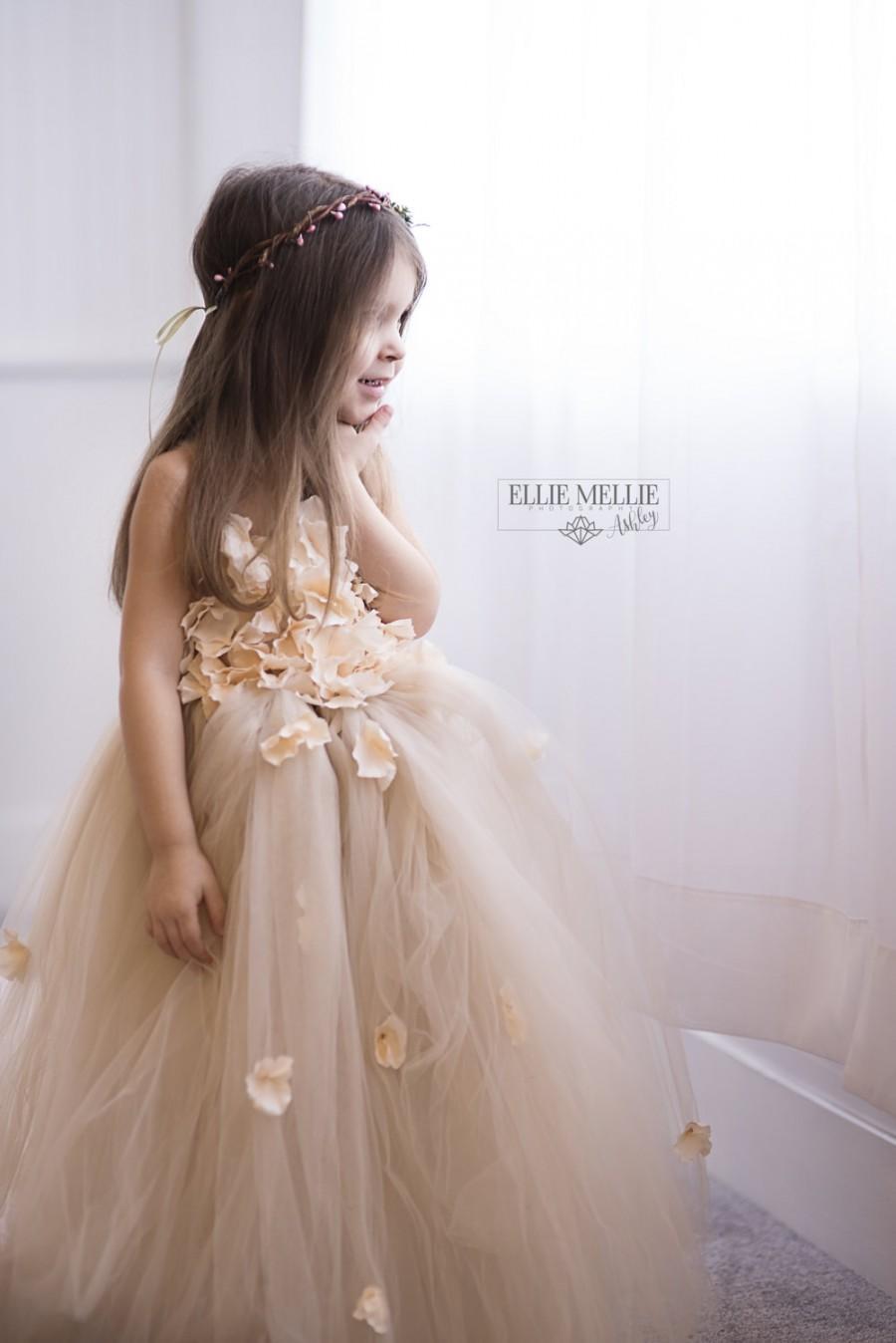 Mariage - Flower girl dress Champagne Dress Champagne tutu dress, flower top, hydrangea top, toddler tutu dress Cascading flowers