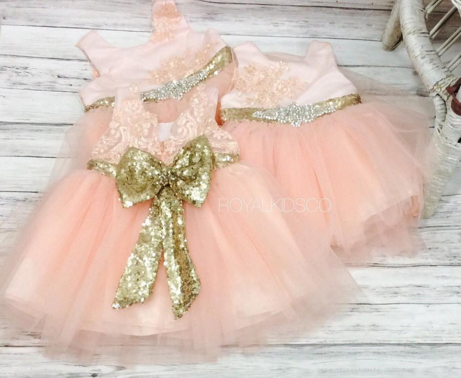 زفاف - Flower Girl dress, blush flower girl dress, birthday girl dress, sequin flower girl dress, lace vinyage flower girl, blush pink wedding