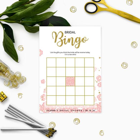 زفاف - Pink and Gold Bridal Shower Bingo-Golden Glitter Personalized Bridal Bingo-Pink Floral Bridal Shower Game-DIY Printable Bridal Shower Games