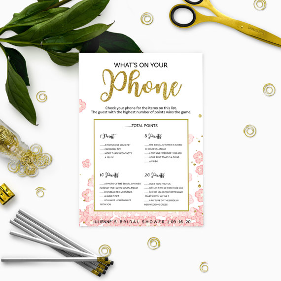 pink and gold whats on your phone bridal shower game glitter modern floral printable personalized bridal shower game bridal shower games