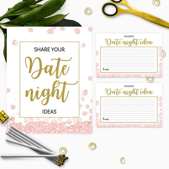 Wedding - Pink and Gold Date Night Ideas Cards And Sign-Instant Download PDF File Printable Golden Glitter Floral Bridal Party DIY Date Jar Game