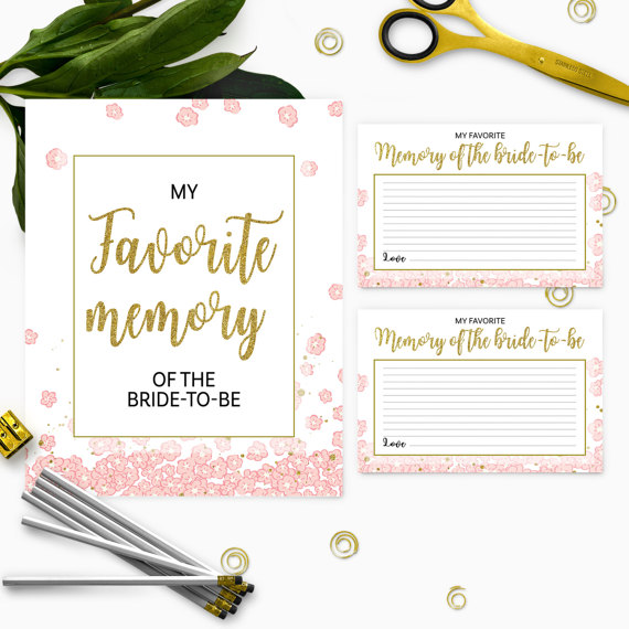 Wedding - Gold and pink my favorite memory of the bride cards and sign-Printable Instant Download PDF File Golden Glitter Bridal Shower, Bachelorette