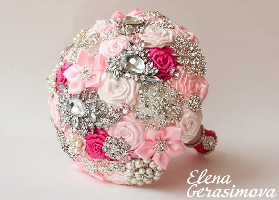 Wedding - Brooch Bouquet. Pink Fabric Bouquet, Unique Wedding Bridal Bouquet