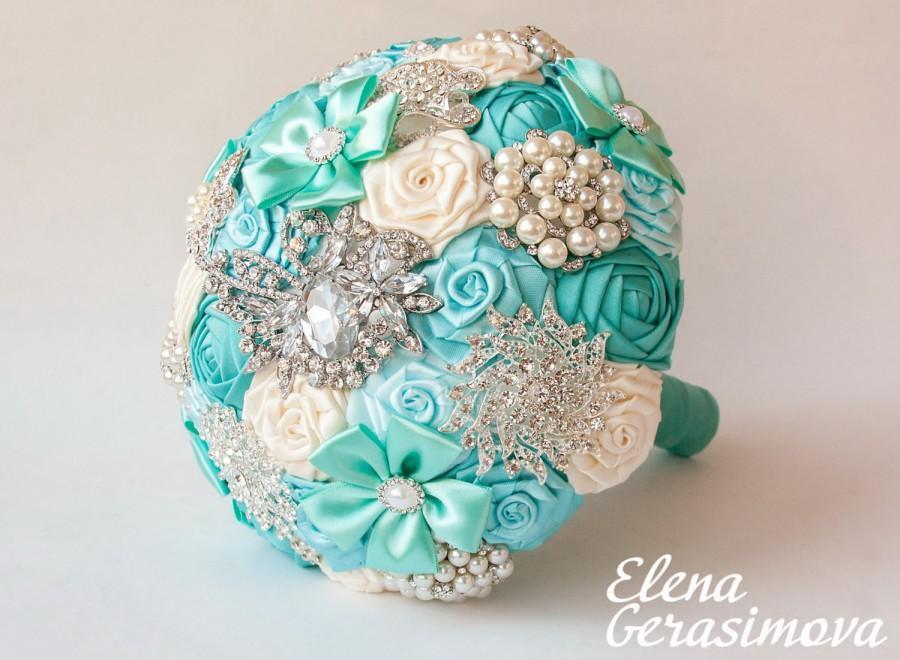 Mariage - Brooch Bouquet. Ivory mint blue Fabric Bouquet, Unique Wedding Bridal Bouquet