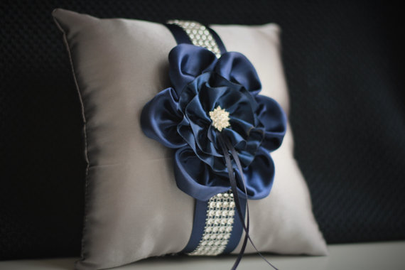 Wedding - Gray Navy Bearer Pillow  Navy ring cushion  Navy Wedding Pillow  Gray Navy Wedding Ring Holder  Grey Navy Pillow  Pillow for rings