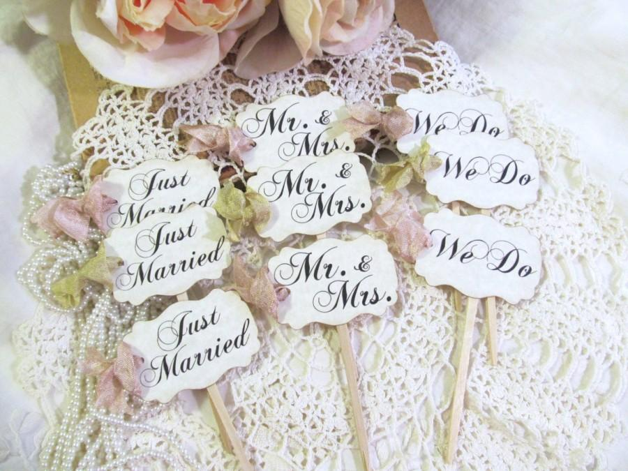Mariage - Wedding Cupcake Toppers Party Picks - Bridal Mix - Just Married We Do Mr. & Mrs. - Set of 12 or 18 - Choose Ribbons - Rustic Vintage Style