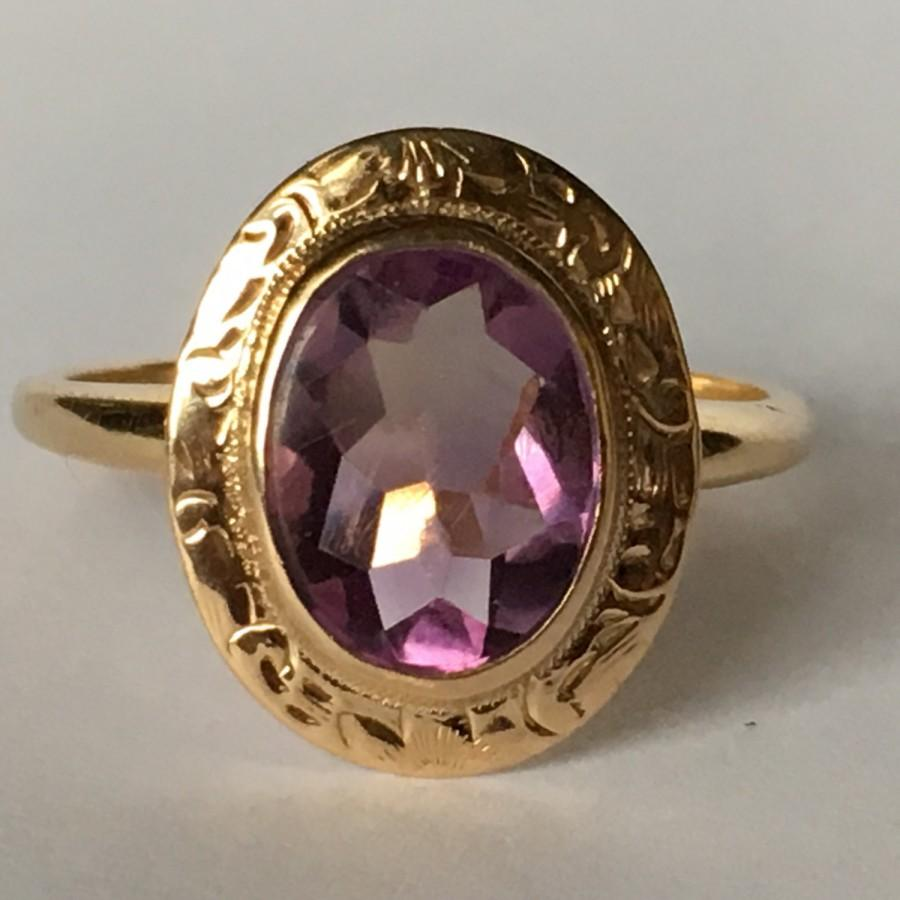 antique amethyst ring in 14k yellow gold 2 carat amethyst