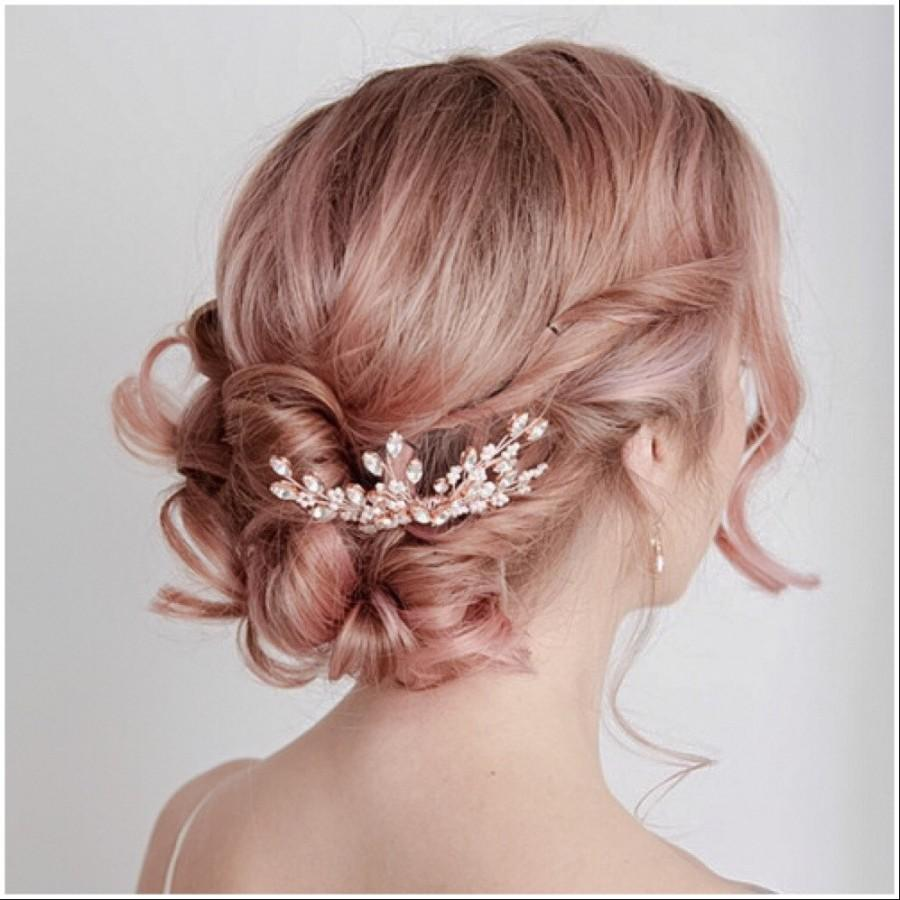 Hochzeit - Rose Gold Hair Comb, Bridal Hairpiece, Bridal Headpiece, Rose Gold Bridal Comb