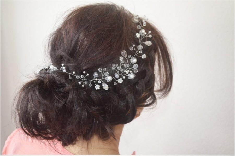 Wedding - Wedding Hair Vine, Long Hair Vine, Bohemian Hair Wreath, Bridal Hair Vine, Veil Accessory, Bridal Hairpiece, Hair Adornments, Bridal Halo