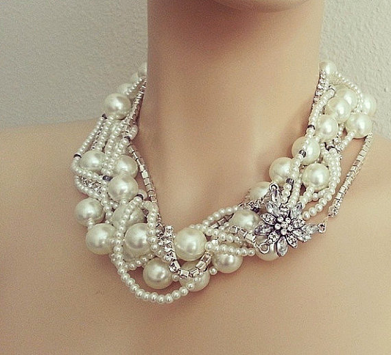Wedding - Bridal Statement Necklace, Wedding Bridal Jewelry, Chunky Pearl Rhinestone Necklace, Bridal Pearl Necklace, Bridal Jewelry