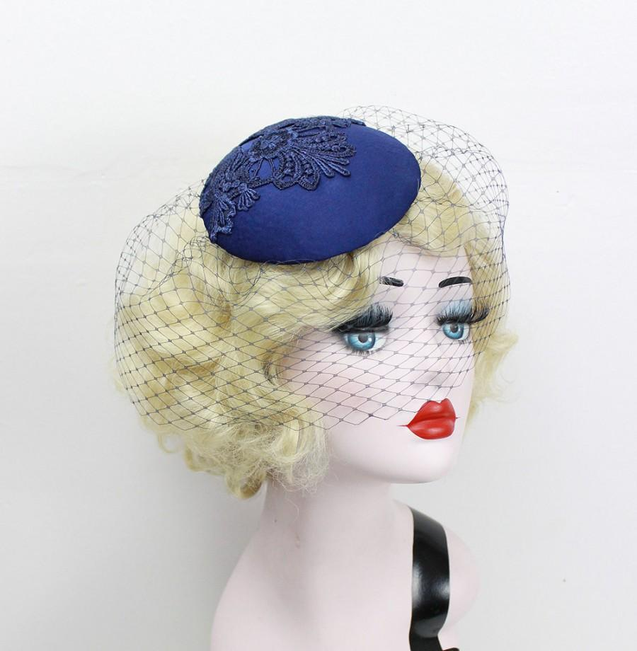 Mariage - Navy Blue Birdcage Veil, Cocktail Hat, Silk Fascinator, Lace, Bridal Hat, Wedding Veil, Mother of the Bride, Blusher Veil, Batcakes Couture