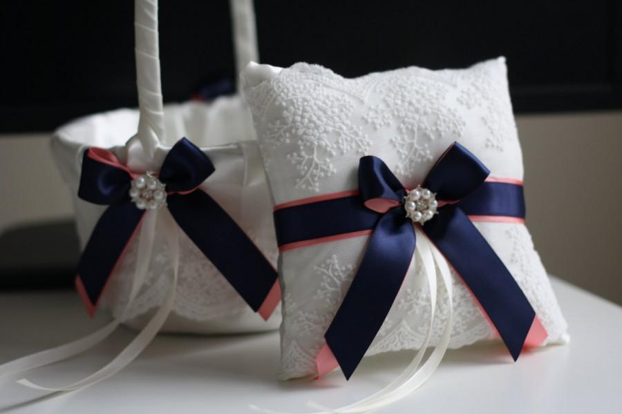 Свадьба - Coral Navy Wedding Basket + Ring Bearer Pillow  Navy Blue and Coral Wedding Pillow, Flower Girl Basket  Lace Bearer  Coral wedding basket