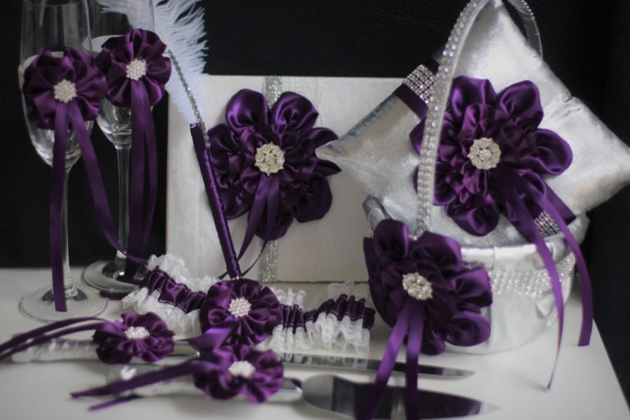 Mariage - Silver Plum Wedding Accessories  Plum Wedding Basket  Plum Wedding Pillow  Plum Champagne glasses  Plum Cake Server, Plum Guest Book Pen