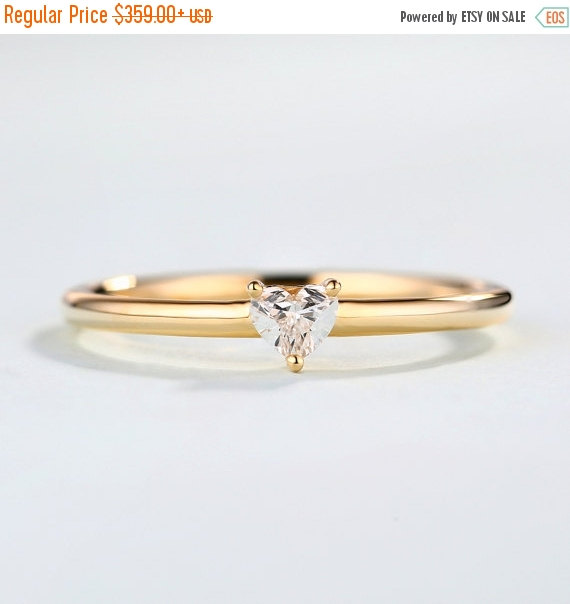 Свадьба - Valentine day Sale Heart Diamond Ring in 14k rose gold,Unique Engagement Ring, Valentine's Day gift for women,stacking rings,promise ring,Ti