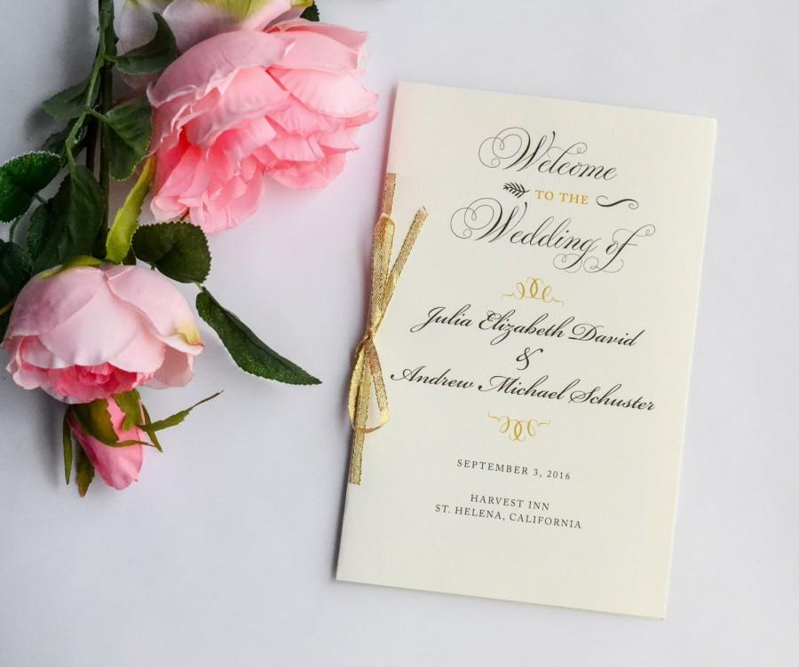 Wedding - Gold Wedding Program, Gold Glitter Programs, Ceremony Programs, Vintage Wedding, Order of Ceremony - Gold Glitter Program Sample