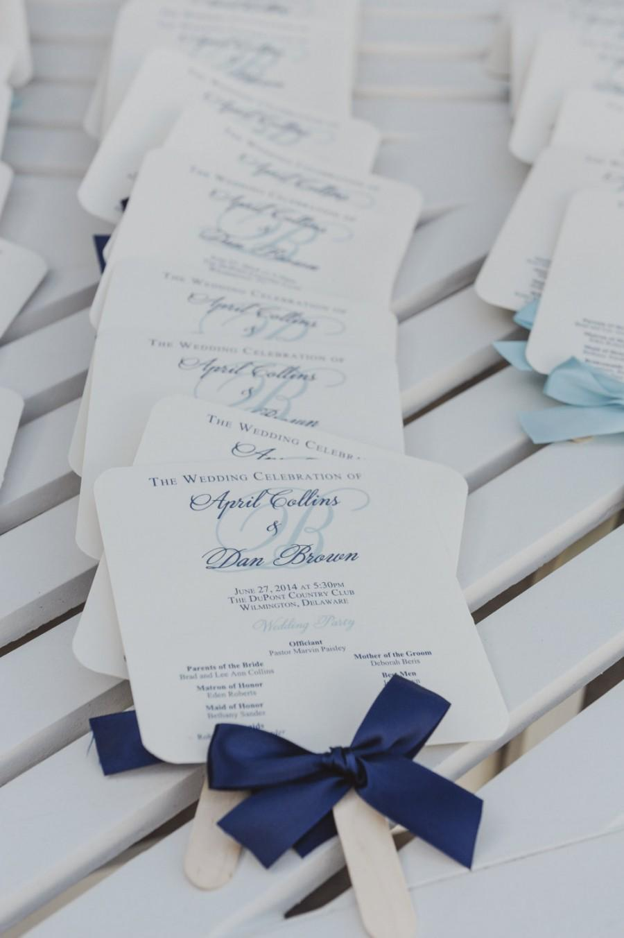 Wedding - Navy Wedding Programs / Wedding Program Fans /  Nautical Wedding Program / Navy and Light Blue Wedding Fans - The Navy Allison Fan Sample