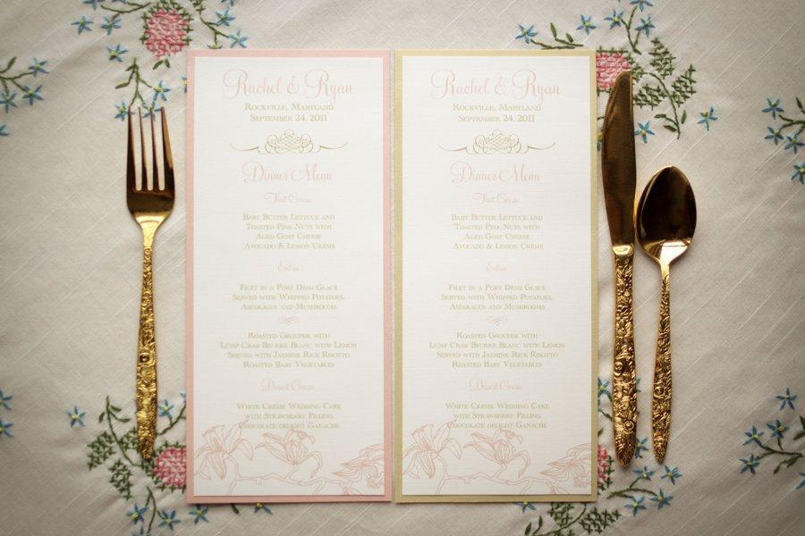 Wedding - Pink Wedding Menus / Gold Wedding Menus /Pink and Gold Menu / Floral Menus / Pink Orchid Sample Menu, As Seen on The Wedding Chicks Blog