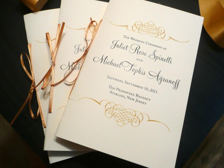 Hochzeit - Gold Wedding Programs, Gold and Black, Wedding Booklets, Elegant Wedding Programs - Gold Flourish Wedding Programs - 8 Pages of Text