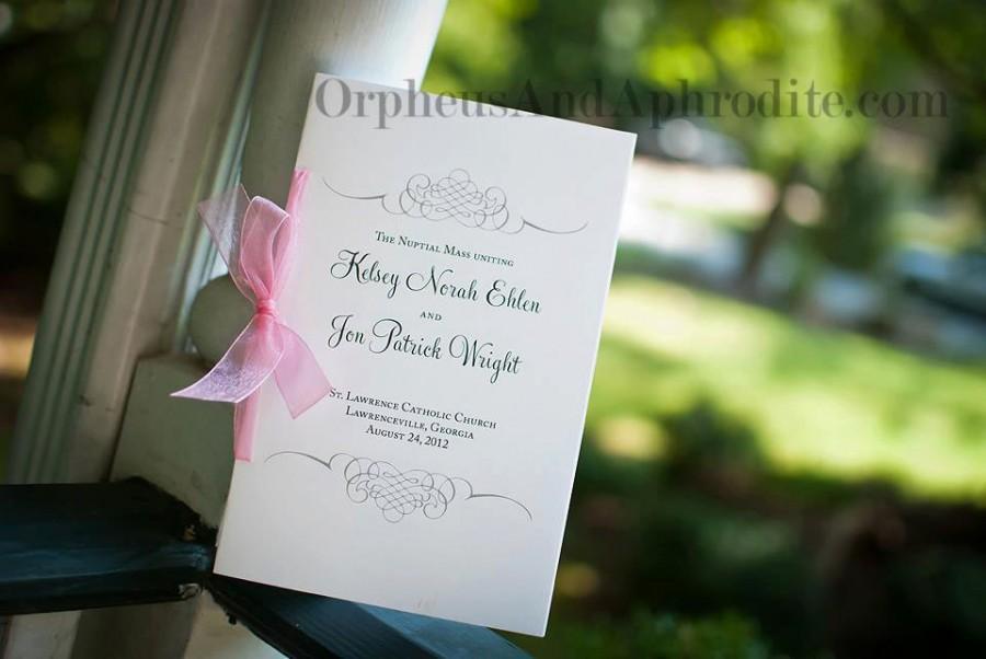 زفاف - Romantic Wedding Programs, Catholic Wedding Program, Silver Wedding Programs, Order of Ceremony - Flourish Program with Organza Ribbon
